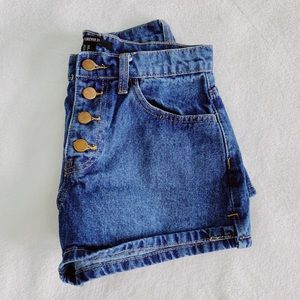 high waisted, blue jean shorts